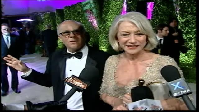 helen mirrren wins best actress award; helen mirren interview on red carpet - it was wonderful, the first thing i wanted to do was kiss my husband /... - helen mirren stock videos & royalty-free footage