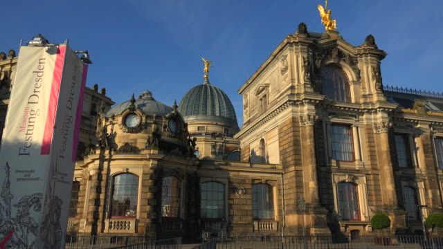academy of fine arts at bruehl's terrace, dresden, saxony, germany - dresden germany stock videos & royalty-free footage