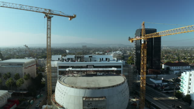academy of motion picture museum construction site - academy of motion picture arts and sciences stock videos & royalty-free footage