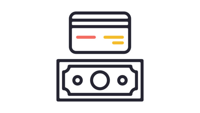 accepted payment types line icon animation with alpha - bit binary stock videos & royalty-free footage