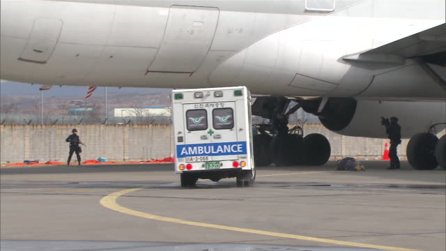 ms ts accident (emergency) simulation on runway in incheon airport / incheon, south korea - emergency services vehicle stock videos and b-roll footage