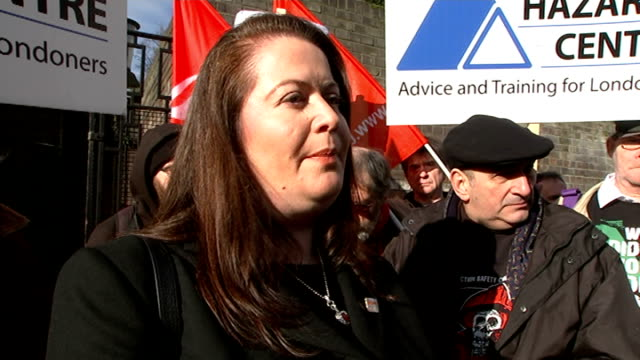 crossrail worker rene tkacik death family arrive for inquest helen clifford interview sot we'd like to know what happened group of protesters... - francis crick stock videos & royalty-free footage