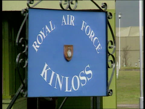 raf chinook helicopter crash raf kinloss ms lorry parked with sign mountain rescue team on front grampian cms sign royal air force kinloss lib nimrod... - ヘリコプター事故点の映像素材/bロール