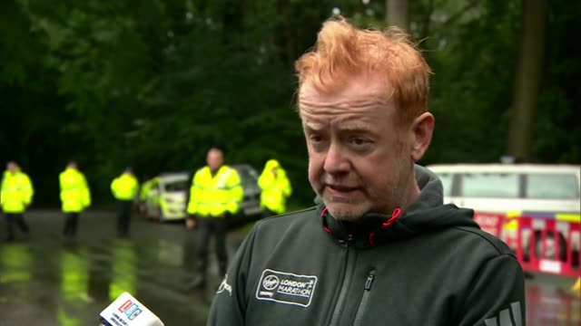 Stunt plane crashes at CarFest motoring event Oulton Park WET Chris Evans up to press mics and SOT one of the pilots involved in a synchro display...