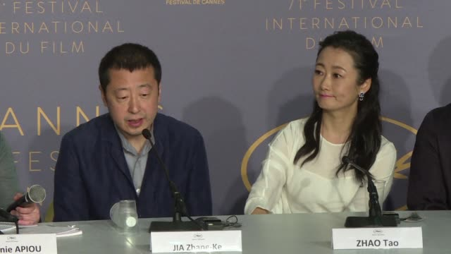 acclaimed chinese filmmaker jia zhangke who returns to the cannes film festival for the fifth time presents his latest movie ash is purest white a... - 71st international cannes film festival stock videos & royalty-free footage