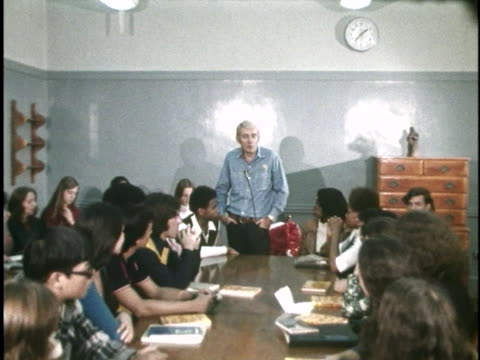acclaimed poet rod mckuen listens, critiques and advises student poets on their writings in a classroom atmosphere. - poet stock videos & royalty-free footage