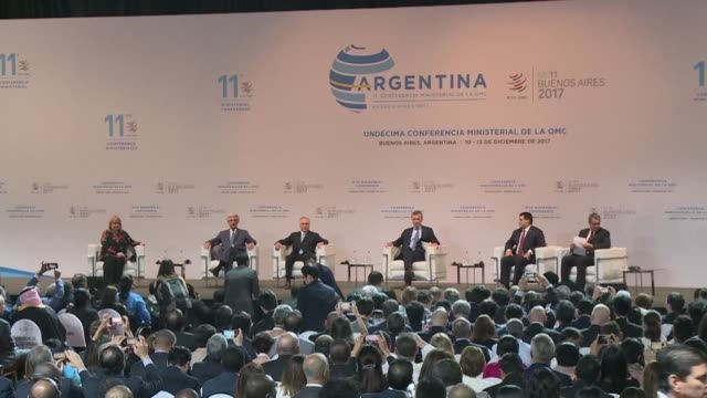 Accompanied by his partners from Mercosur group Argentine president Mauricio Macri inaugurates the 11th Ministerial Conference of WTO with a call to...
