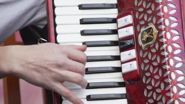 accordion player performing on stage close-up (4k/uhd) - ireland stock videos & royalty-free footage