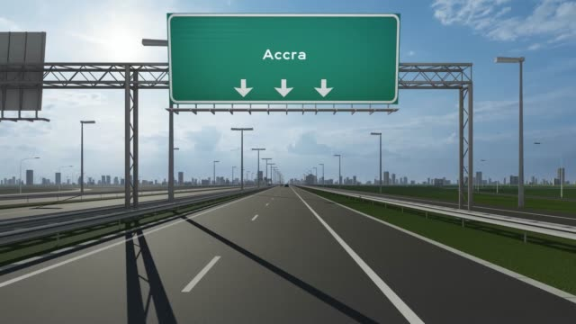 accra city signboard on the highway conceptual stock video indicating the entrance to city - motorway junction stock videos & royalty-free footage