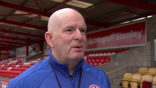 Accrington Stanley promoted to League 1 David Burgess along blowing leaves and interview SOT General view seats and stands GVs Wham Stadium...