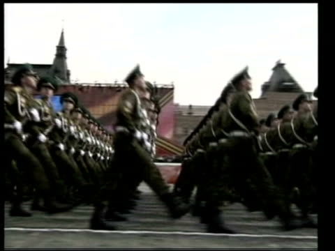 Accusations that Russia passed US intelligence to Iraqi government LIB Moscow Red Square EXT Vladimir Putin and George W Bush seated to watch parade...
