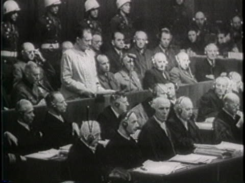 accused nazi war criminal hermann goering pleads not guilty at the nuremberg trials following world war ii - crime or recreational drug or prison or legal trial stock-videos und b-roll-filmmaterial