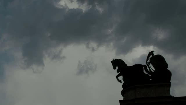EU accuses Hungary's Fidez Party accused of undermining rule of law HUNGARY Budapest Heroes' Square EXT Low angle shot column topped with statue of...