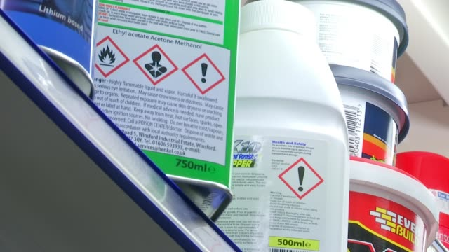 Retailers sign up to voluntary ban on sales to under 18s R170717009 / ENGLAND London INT Various of acid containing products on shelves