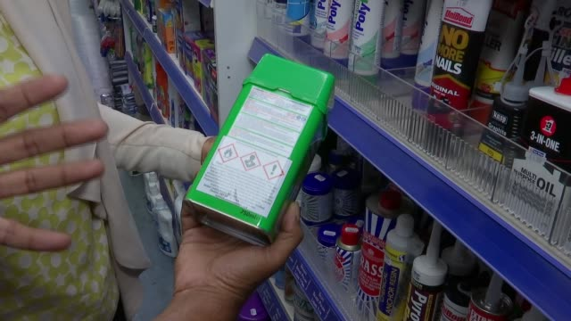 Retailers sign up to voluntary ban on selling corrosive substances to under18s R170717009 ENGLAND London INT Various of acid products on display in...