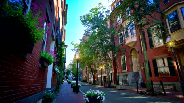 acorn street. boston - cobblestone stock videos & royalty-free footage