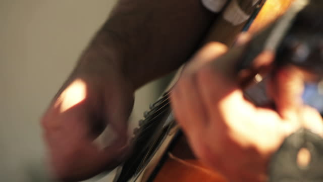 acoustic guitar - closeup - fretboard stock videos and b-roll footage