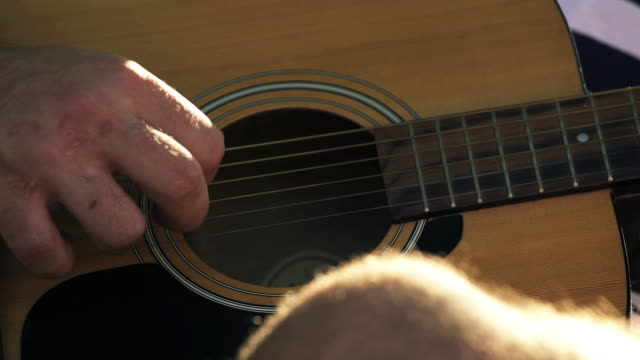 acoustic guitar - detail - fretboard stock videos and b-roll footage