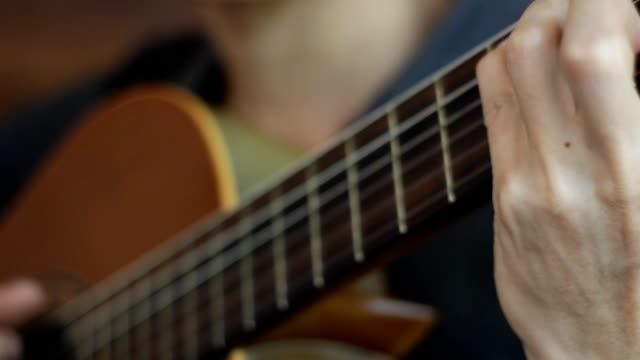 acoustic guitar in musician hands - musical theater stock videos and b-roll footage