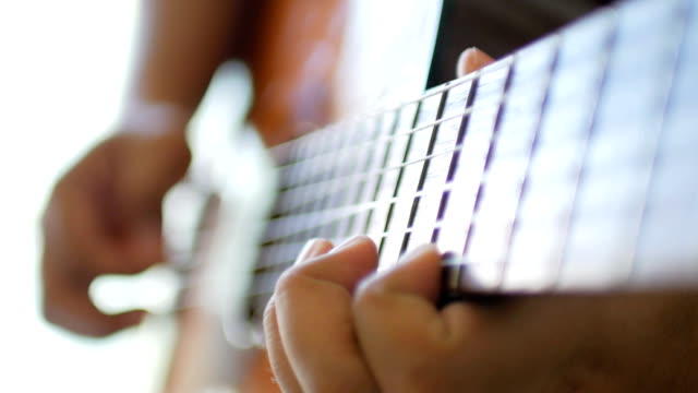 acoustic guitar playing by musician , slow motion - guitar stock videos & royalty-free footage