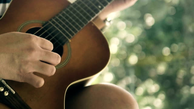 acoustic music : playing solo - yard measurement stock videos and b-roll footage
