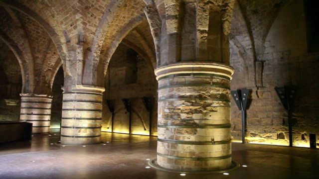 acre, the knights halls in the crusader city of acre - akko stock videos and b-roll footage