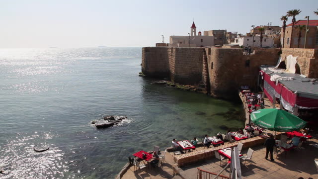 acre, view of the walls in the old city of acre - akko stock videos and b-roll footage