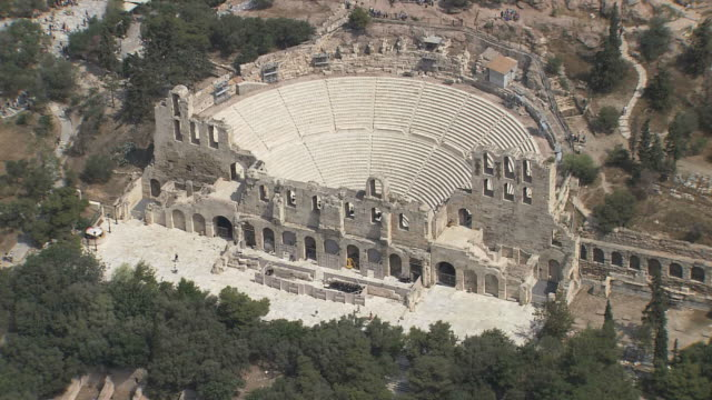 MS AERIAL ZI Acropolis Athens Greece with great Amphitheater / Acropolis Athens, Greece