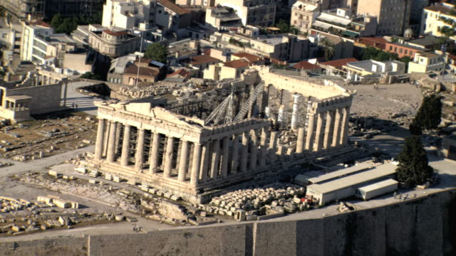 ms aerial acropolis focusing on parthenon house of goddess athena/ acropolis, athens, greece - parthenon athens stock videos & royalty-free footage