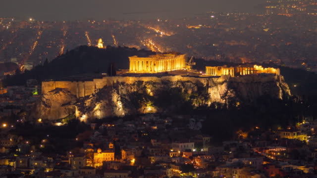 Acropolis of Athens in a day to night time lapse