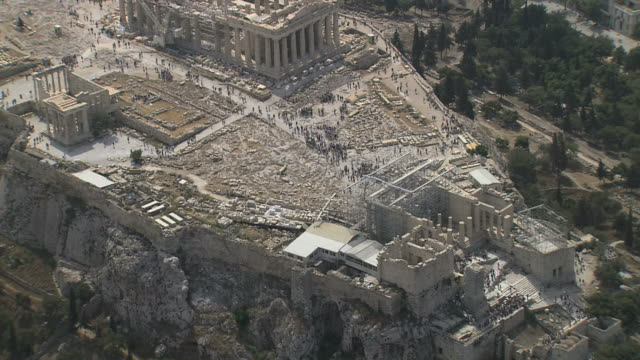 MS AERIAL Acropolis old temple of Athena,Parthenon and Propylaea / Acropolis, Athens, Greece