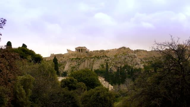 acropolis seen on the mountain - the erechtheion stock videos & royalty-free footage