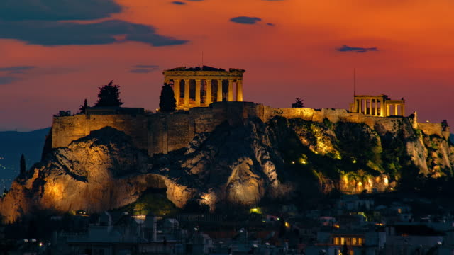 acropolis sunset - athens greece stock videos & royalty-free footage