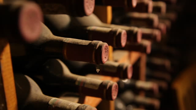 cu pan across dusty wine bottles in a cellar/ cape town/ south africa - wine stock videos & royalty-free footage