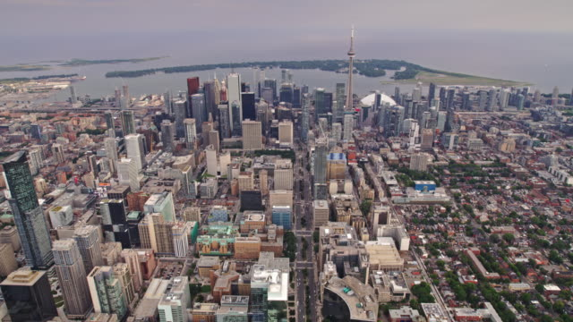 aerial across queen's park towards downtown toronto, ontario - toronto stock videos & royalty-free footage
