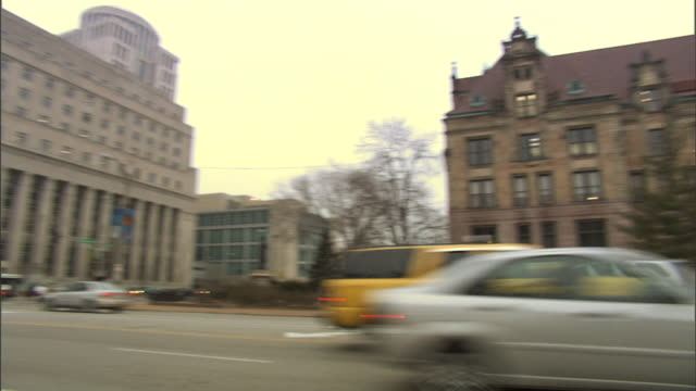 WS PAN From Police Department Library to City Hall building w/ cars on 12th Street lower frame MO Mayor