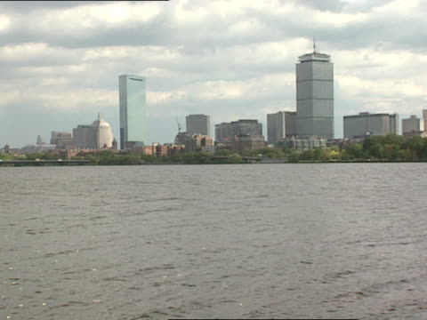 across the charles river looking at the john hancock amp prudential towers zi zo - charles river stock videos & royalty-free footage