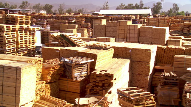 ws pan across wooden pallet manufacturing and repair and pallet storage plant / fontana, california, usa - bauholz stock-videos und b-roll-filmmaterial