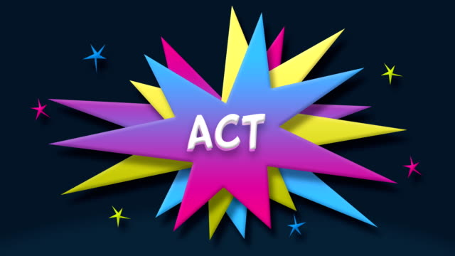 act text in speech balloon with colorful stars - speech bubble stock videos & royalty-free footage