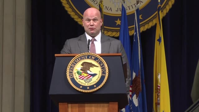 acting us attorney general matthew whitaker attending a veterans appreciation day ceremony at the justice department - generalstaatsanwalt stock-videos und b-roll-filmmaterial