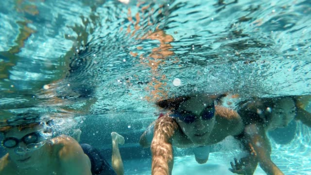 vídeos de stock e filmes b-roll de action cam swimming group! - coordenação
