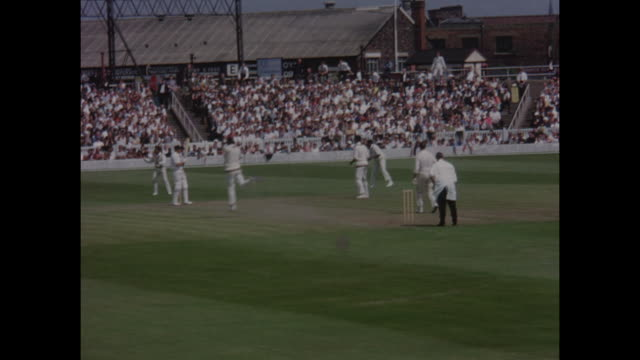 action from the 1st test match between england and the west indies at old trafford in june 1966 - 西インド諸島点の映像素材/bロール
