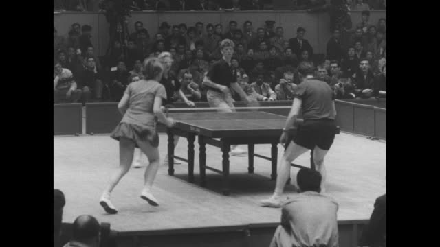 action in womenís doubles final of the world table tennis tournament in tokyo / wv action in mixed doubles final, leah neuberger and erwin klein of... - japanese ethnicity stock videos & royalty-free footage