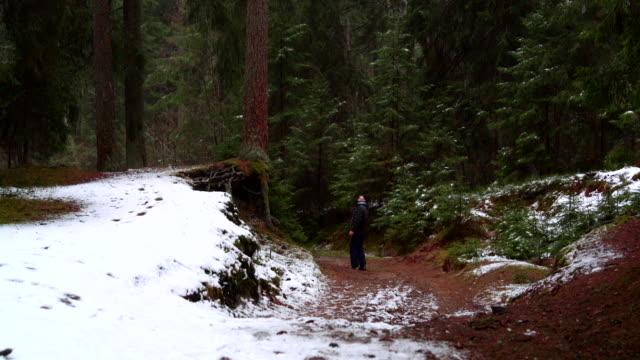 stockvideo's en b-roll-footage met actieve 70-jaar oude man senior wandelen in het woud van de winter - 70 79 jaar