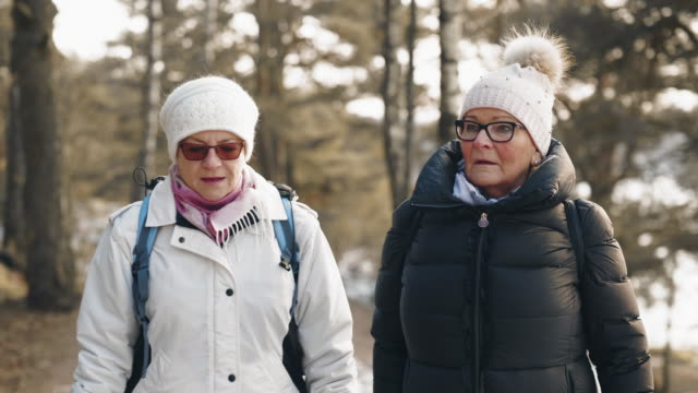 active senior couple on a hike in winter - warm clothing stock videos & royalty-free footage