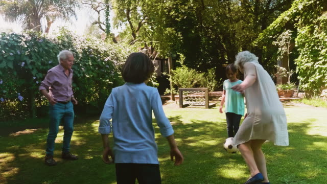 active senior footballers kicking ball with grandchildren - recreational pursuit stock videos & royalty-free footage