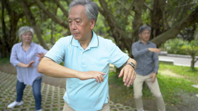 active seniors practicing tai chi - baby boomer stock videos & royalty-free footage