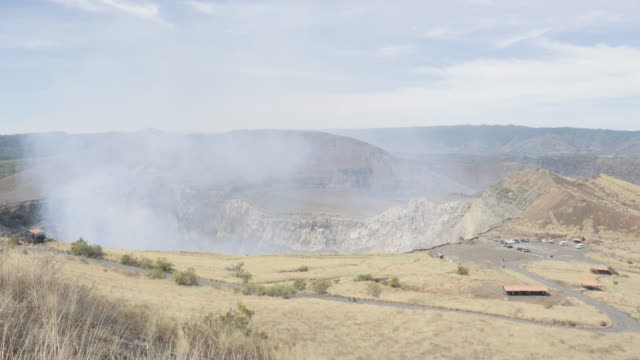 Active volcano Nindiri wide shot angle. In this 4K video footage we can see the crater expelling steam with sulfur. Placed in Masaya ( Managua - Nicaragua - Central America ).