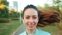 Active woman enjoying running.