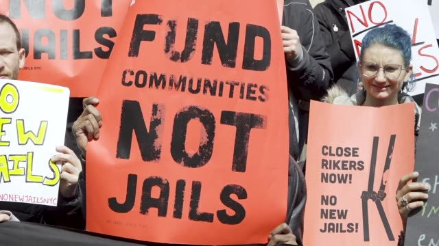 activist from no new jails nyc citywide partners and local borough residents rallied at manhattan's city hall on march 13 2019 demanding the closure... - prison reform stock videos & royalty-free footage